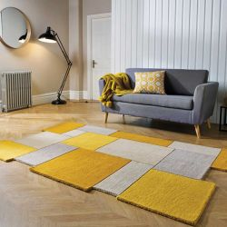 Abstract Collage Ochre Natural Rug by Flair Rugs