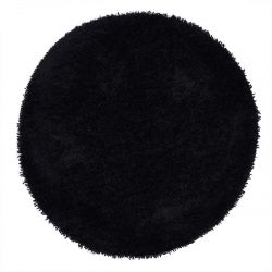 Chicago Black Polyester Circle Rug by Origins