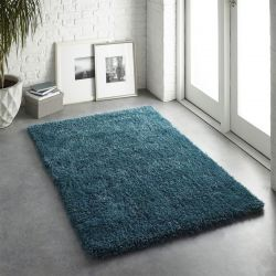 Chicago Dark Teal Polyester Plain Rug by Origins