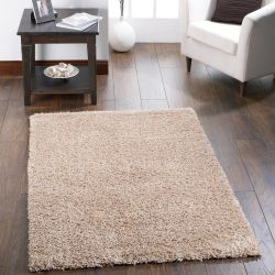 Chicago Latte Polyester Plain Rug by Origins