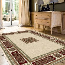 Da Vinci 057 0801 6414 Red Cream Traditional Circle Rug by Mastercraft