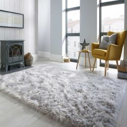 Faux Fur Sheepskin Grey Plain Shaggy Rug by Flair Rugs