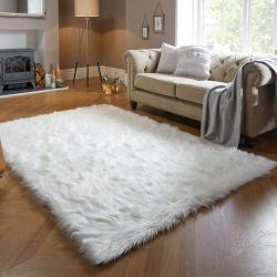 Faux Fur Sheepskin Ivory Plain Shaggy Rug by Flair Rugs