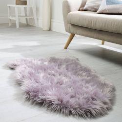 Faux Fur Sheepskin Mauve Plain Shaggy Rug by Flair Rug