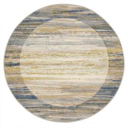 Galleria 063 0138 6191 Beige Blue Bordered Circle Rug by Mastercraft