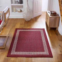 Greek Key Flatweave Bordered Red Rug By Oriental Weavers