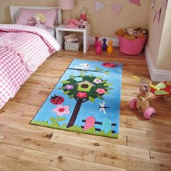 Hong Kong HK4897 Blue Children Rug By Think Rugs