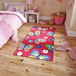Hong Kong HK5234 Pink Children Rug By Think Rugs