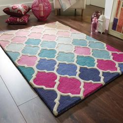 Illusion Rosella Pink/Blue Rug by Flair Rugs