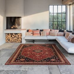 Kashqai 4364 301 Bordered Traditional Wool Rug by Mastercraft