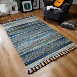 Kelim Stripe Blue Flateweave Rug by Oriental Weavers