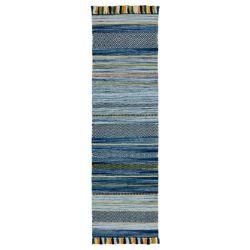 Kelim Stripe Blue Flateweave Runner by Oriental Weavers