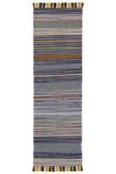 Kelim Stripe Charcoal Flateweave Runner by Oriental Weavers