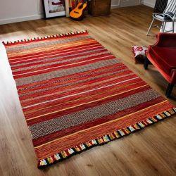 Kelim Stripe Red Flatweave Rug by Oriental Weavers