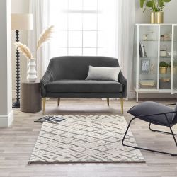 Maison 7721A White Light Grey Geometric Rug by Mastercraft