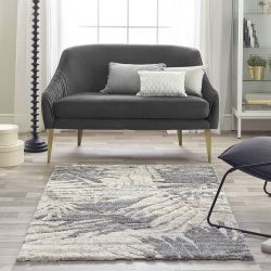 Maison 7864B Light Grey White Abstract Rug by Mastercraft