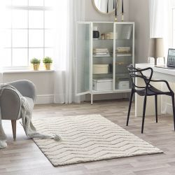 Maison 7876A White Light Grey Striped Rug by Mastercraft