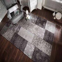 Manhattan Patchwork Chenille Black/Grey Rug by Flair Rugs