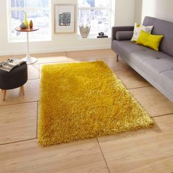 Monte Carlo Yellow Shaggy Rug By Think Rugs