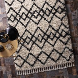 Morocco Ivory Charcoal Geometric Rug by Origins