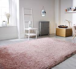 Pearl Dusky Pink Plain Shaggy Rug by Flair Rugs