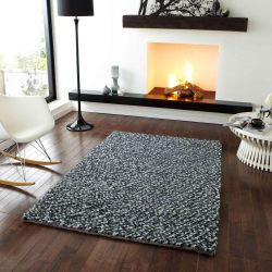 Pebbles Grey Wool Rug By Think Rugs