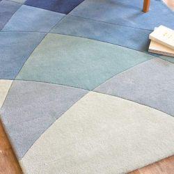 Rhythmic Tides Indigo Handtufted Wool Rug by Claire Gaudion