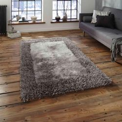 Sable 2 Silver Shaggy Bordered Rug By Think Rugs