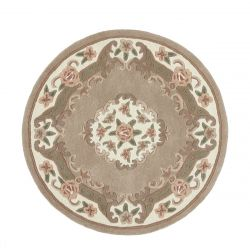 Shensi Beige Traditional Circle Rug by Rug Guru