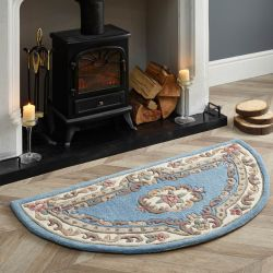 Shensi Blue Traditional Halfmoon Rug by Rug Guru