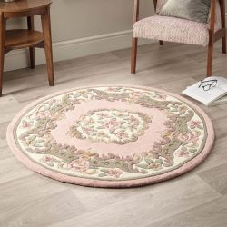Shensi Pink Traditional Circle Rug by Rug Guru