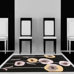 Sovereign Black Floral Rugs By Ultimate Rug 1