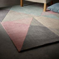 Trio Pink Grey Geometric Rug by Origins
