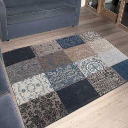 Vintage Multi 8108 Blue Denim Designer Luxury Rug By Louis De Poortere