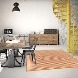 Vitaminic Braid Orange Geometric Rug By Floorita 1