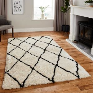 Think Rugs Morocco 2491 Ivory/Black Shaggy Rug