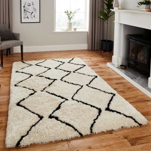 Think Rugs Morocco 3742 Ivory/Black Shaggy Rug
