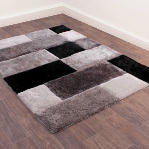 3D Carved Blocks Grey Shaggy Rug by Ultimate Rug
