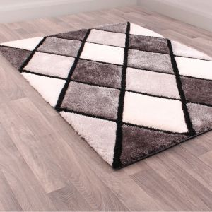 3D Carved Diamond Grey Shaggy Rug by Ultimate Rug
