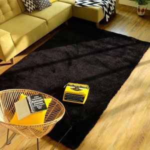 603 Black Soft UNI Shaggy Rug by Tom Tailor