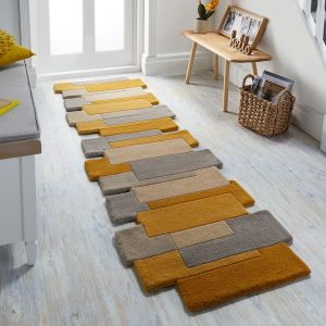 Abstract Collage Ochre Natural Runner by Flair Rugs