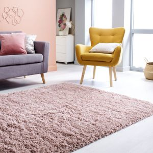 Albany Blush Plain Shaggy Rug by Flair Rugs