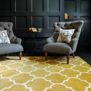 Albany Ogee Ochre Wool Rug by Asiatic