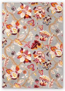Amanpuri 145104 Grey Plum Floral Rug by Sanderson