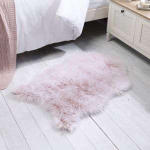 Anja Faux Fur Helsinki Pink Shaggy Plain Rug by Flair Rugs