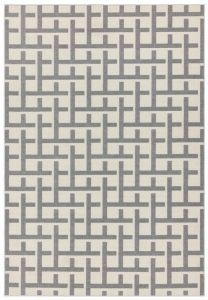 Antibes AN03 White Grey Grid Rug by Asiatic