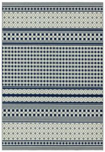 Antibes AN06 Blue Cream Geometric Rug by Asiatic