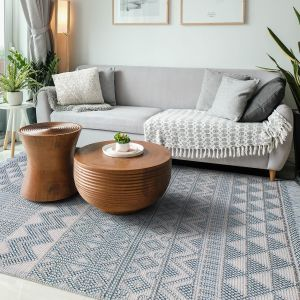 Anya 01 Duck Egg Geometric Rug by Concept Looms