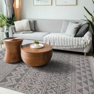 Anya 01 Grey Black Geometric Rug by Concept Looms