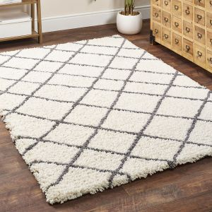 Artisan Diamond Geometric Shaggy Rug by Origins